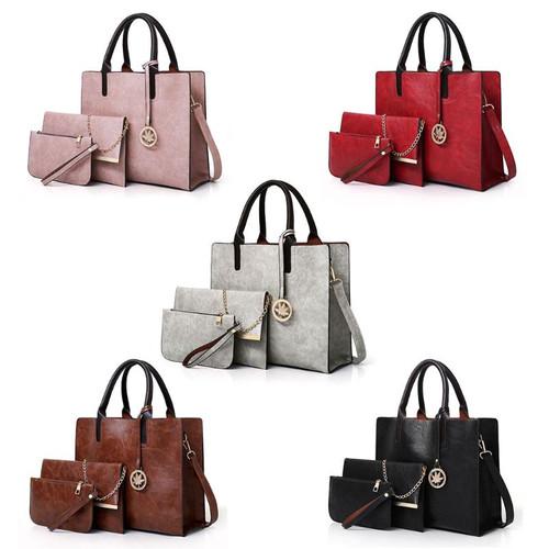 2018 Women's Bags Set 3pcs Women's Large Leather Bag Ladies Shoulder Tote Fashion Messenger Bag Luxury Handbags for Girl Women