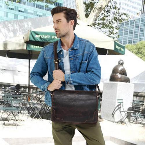 CONTACT'S Casual Shoulder Crossbody bag Genuine Leather Men's Briefcase Leather Laptop Bag Male Messenger Bags Designer Bag 2017