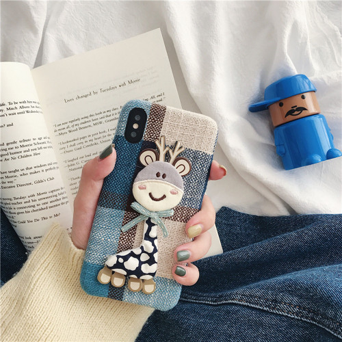 3D Cartoon Phone Cases For iPhone 7 8 Plus 6 6s X Xs Max XR Suede Deer Bird Doll Furry Shockproof Cute Grid Fitted Cases SI87