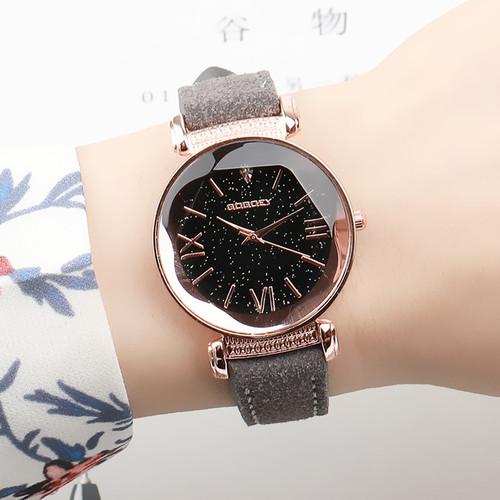 Exquisite Luxury Women Watches Fashion Dress Ladies Watch Rose gold Starry Sky Dial Leather Strap Quartz Wristwatch Clock Women