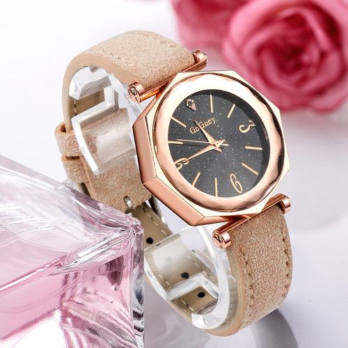 New Crystal Luxury Dress Relojes Brand Gogoey Watch Women Elegant Quartz Wristwatch Mujer Pu Leather Watch Woman Feminino Montre