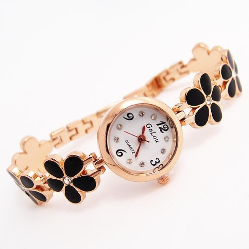 Luxury Rose Gold Flower bracelet watches Women Ladies Crystal Dress Quartz Wristwatches Relogio Feminino GO122