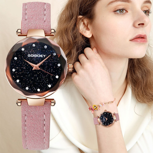 Women's Watches Fashion Leather Watch Brand Gogoey Women Watches For Women Personality Romantic Starry Sky Ladies Watch Clock