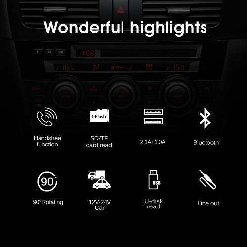 HY29 Bluetooth FM Transmitter Car MP3 Player 3.1A USB Charger Support EQ Setting Voltmeter TF Card U Disk AUX Out