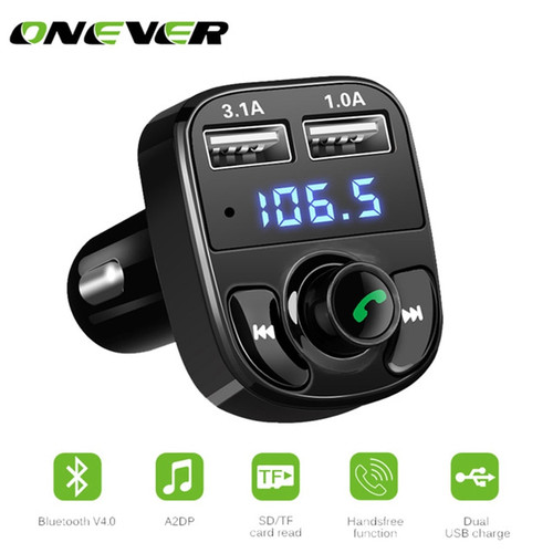 Onever FM Transmitter Handsfree Bluetooth Car Kit Aux Modulator Car Audio MP3 Player with 3.1A Quick Charge Dual USB Car Charger