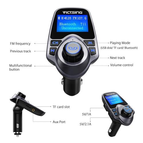 VicTsing Wireless Adapter Bluetooth FM Transmitter Radio Adapter Car Kit With Large Display Screen&TF Card Slot&USB Car Audio