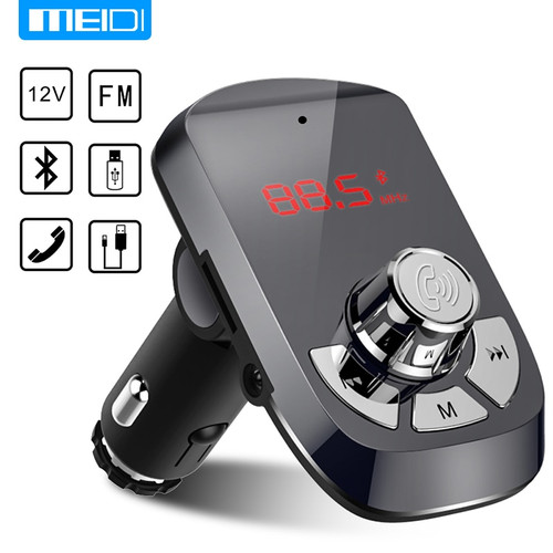 MEIDI FM Transmitter Car Charger Wireless Bluetooth Car Kit  Hands Free MP3 Player  Dual USB Car Charger AUX