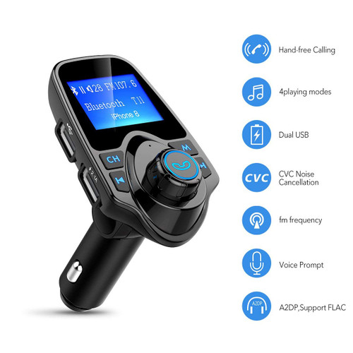 Bluetooth FM Transmitter Wireless in-Car Radio Receiver Adapter, Handsfree Car Kit Music Player with 2 USB Ports AUX in/Out TF