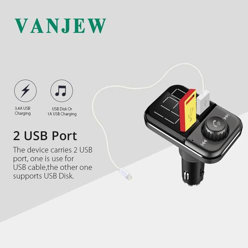 VANJEW BT72 in-Car Bluetooth FM Transmitter Radio Adapter Modulator MP3 player transmitters Hand-free USB TF Card 2 USB Charger