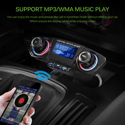 Onever Car FM Transmitter Modulator MP3 Player Bluetooth 4.0 Hands-free Stereo Audio Receiver Adapter with USB Charging Port