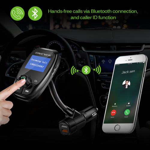 Onever FM Transmitter QC3.0 Dual USB Car Charger Bluetooth Hands Free Car Kit Radio Modulator Audio MP3 Player Support TF Card