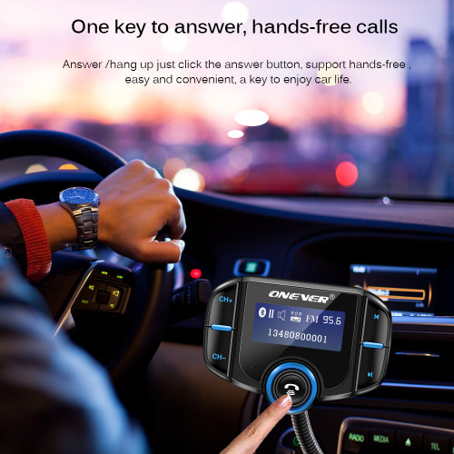 Onever FM Transmitter 2 Port QC 3.0 Quick Charger Bluetooth Handsfree Car Kit Modulator 1.65'' Screen MP3 Player Support Siri