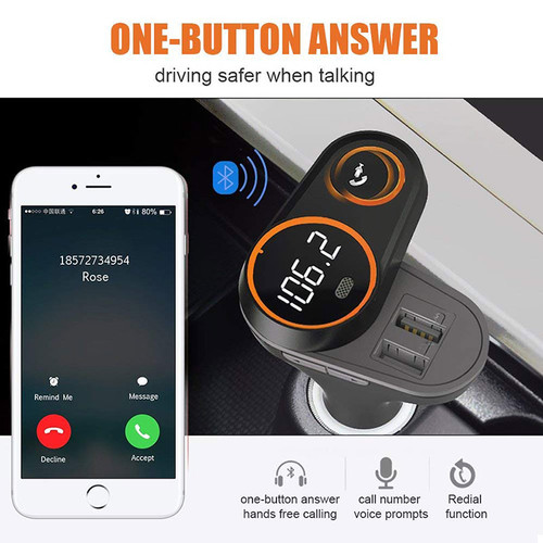 ANLUD Rotatable Bluetooth FM Transmitter Car Mp3 Player Wireless In-car Audio Radio Adapter Charger Dual USB Port Handsfree Call