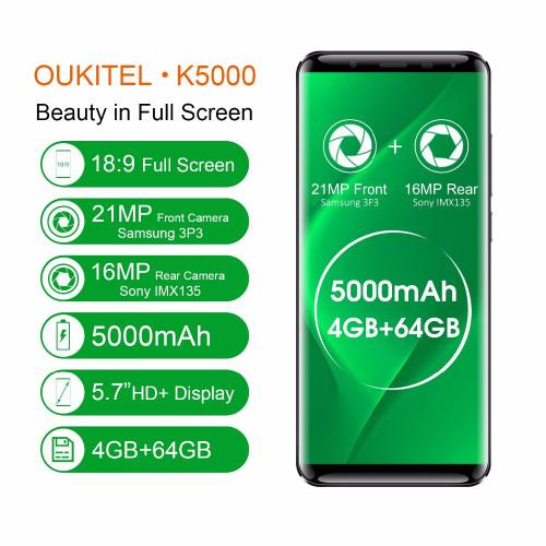 OUKITEL K5000 5.7''2.5D Android 7.0 MTK6750T Octa Core phone RAM 4GB ROM 64GB 21.0MP Front Camera 5000mAh Fingerprint Smartphone