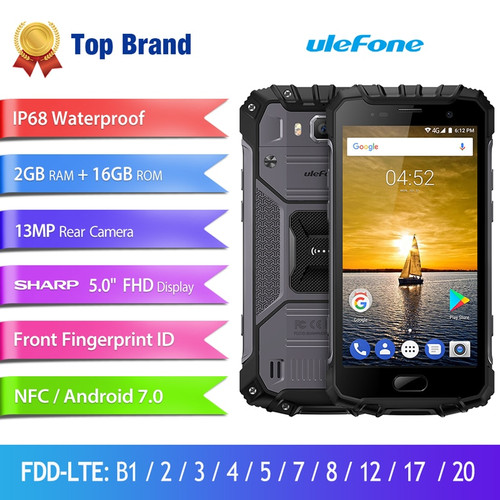 """Ulefone Armor 2S IP68 Waterproof Mobile Phone Android 7.0 5.0"""" FHD MTK6737T Quad Core 2GB+16GB 4G Global Version Smartphone"""