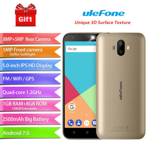 "Ulefone S7 Mobile Phone MTK6580A Quad Core Android 7.0 Cellphone Dual Camera 5.0"" HD 1G RAM 8G ROM 8MP+5MP 3G WCDMA Smartphone"