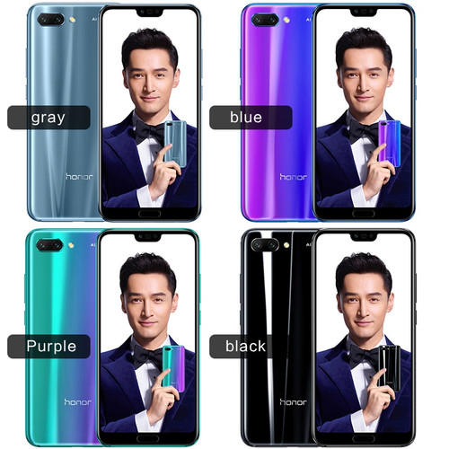 "Original 5.84"" Huawei Honor 10 Android 8.1 Kirin 970 Octa Core AI Mobile Phone face ID 2280x1080 24.0MP+16.0MP NFC"