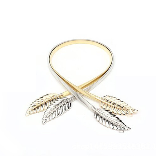 gold silvery leaf shape wedding designer elastic belts for women girl stretch skinny waist belt cummerbunds metal female belt