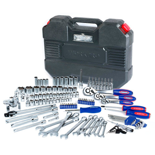 WORKPRO 123PC Tool Set Hand Tools for Car Repair Ratchet Spanner Wrench  Socket Set Professional Car Repair Tool Kits