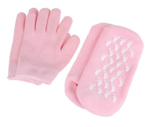 1 set Reusable SPA Gel Socks & gloves Moisturizing whitening exfoliating velvet smooth beauty hand foot care silicone socks