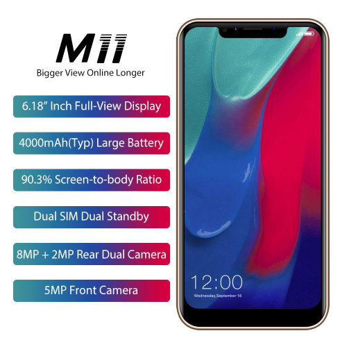 "LEAGOO M11 Smartphone 6.18"" 4000mAh 2GB RAM 16GB ROM Android 8.1 MT6739 Quad Core Rear Fingerprint Rapid Charge 4G Mobile Phone"