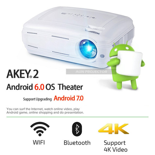 Brand AUN Android Projector AKEY2, 3500 Lumens, LED Beamer. Built-in WIFI, Bluetooth, Support 4K Video, Full HD, 1080P, HDMI