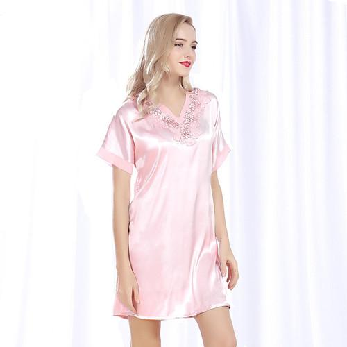 SSH086 2017 Summer Women Pijama Pyjamas Female Satin Silk Nightie Elegant Lace V-neck Nightdress Lady Sexy Sleepwear Nightgowns