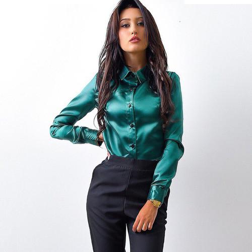 2018 autumn winter new fashion women shirts long sleeve lapel office ladies Blouse shirt elegant Female button solid Tops