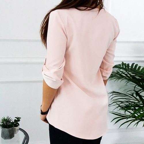 SHUJIN 2018 Women Zipper V-Neck Chiffon Blouses Casual Short Sleeve Shirts Tops Female Elegant Work Ladies Blusas Plus Size 5XL