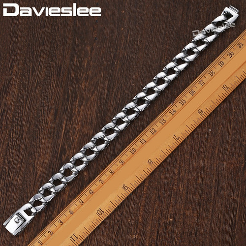 Mens Bracelet Chain 316L Stainless Steel Curb Cuban Chains Bracelets for Men Davieslee Fashion Wholesale Jewelry 11mm DLHB30