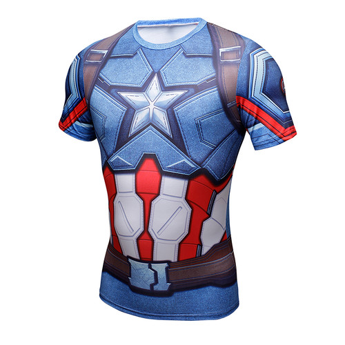 Mens Compression Shirt Superhero Superman Capitan America Iron Man 3D T Shirt Clothing G ym Fitness Men Short T-Shirt