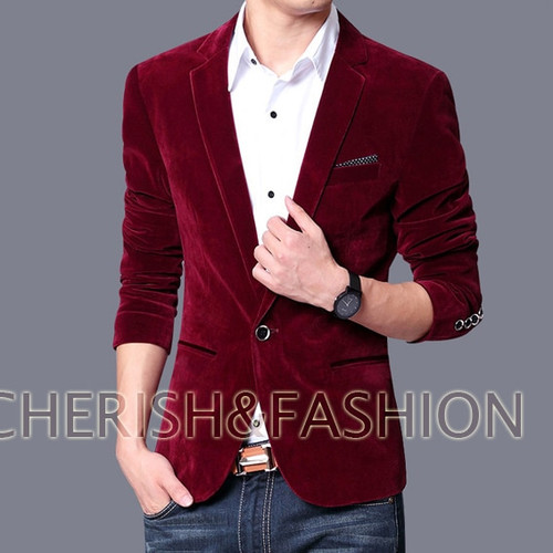 Mens blazer slim fit suit jacket black dark blue velvet 2019 spring autumn outwear coat Free shipping Suits For Men