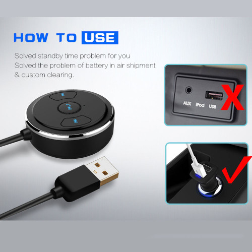ENKLOV In-line Car Wireless Bluetooth Audio Adapter 4.1 Stereo AUX Interface Mobile Music Receiver Bluetooth Car Kit