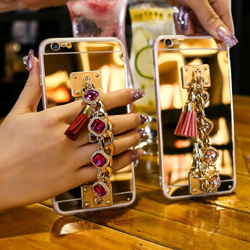 Soft Mirror Case For iPhone XS MAX XR Cover Fringed Rhinestone Bracelet Phone Shell For iPhone 8 7 6 6S Plus 5 5S SE Luxury Case