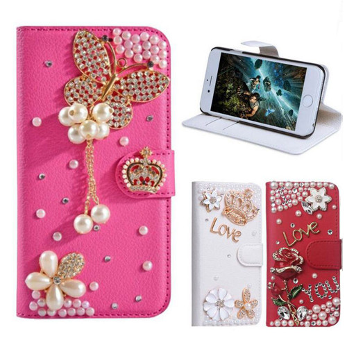 Case For iPhone, Wallet Cover For iPhone X/8PLUS/7PLUS/6PLUS/6S/5S, Rhinestone Bling Diamond Flip Leather Wallet Stand Cover