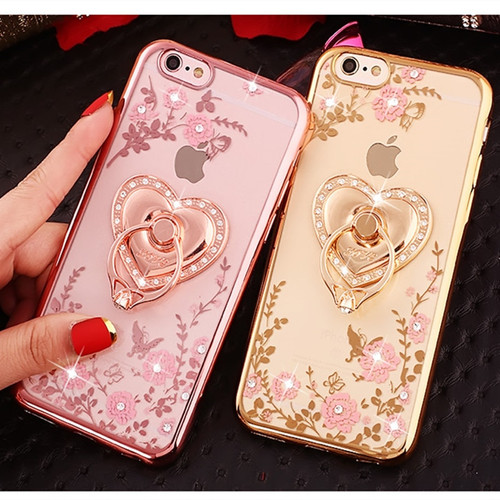 Dower Me Bling Secret Garden Flowers Electroplate Case Cover With Diamond Ring Grip For iPhone XS Max XR X 8 7 6 6S Plus 5 5S SE