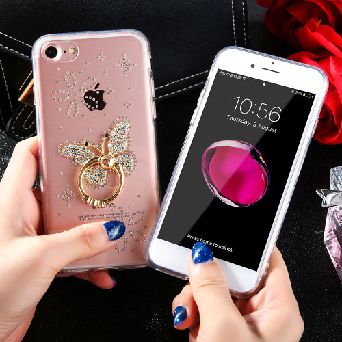 Luxury Diamond Crystal Bling butterfly Rhinestone with Finger Ring Phone Case For iphone 7 7Plus 8 8Plus Chic Glitter Back Cover