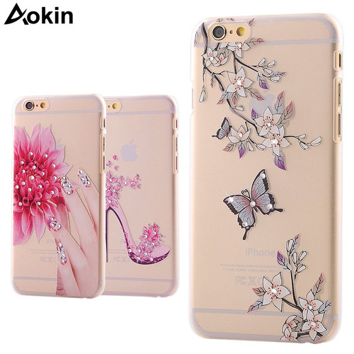 Aokin 3D Bling Glitter Clear Cases for iPhone 6 6s Plus Case Hard PC Transparent Cover Rhinestone Inlay for Girls Women Covers