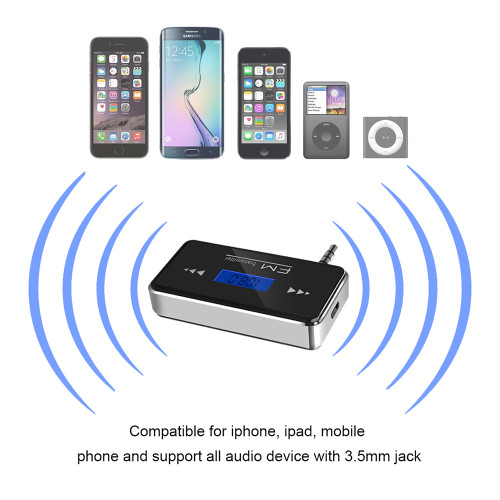 3.5 mm Wireless Car Radio Music Audio FM Transmitter HandsFree FM Modulator Transmissor FM LCD displayer for iPhone Android