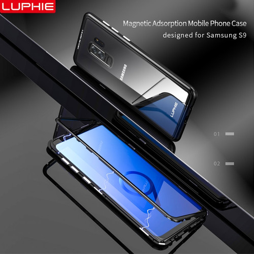 LUPHIE Magnetic Metal Case For Samsung Galaxy S9 S8 Plus Note 8 9 Magnet Case Bumper Clear Glass Cover For Samsung Note 9 8 Case