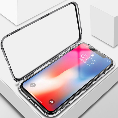 Magnetic Adsorption Case for iphone 6 6s 7 8 Plus X 360 Full Flip Metal Frame Magnet Cases for iPhoneX Tempered Glass Cover Capa