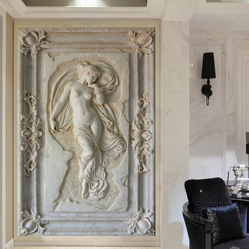 Custom Photo Wallpaper European Style Figure Statue 3D Embossed Mural Hotel Living Room Backdrop Mural Wall Papers 3D Home Decor