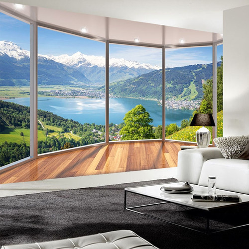 Custom Photo Wallpaper 3D Balcony Forest Lake Space Wall Mural Modern Living Room Background Wall Painting Home Decor Wallpapers