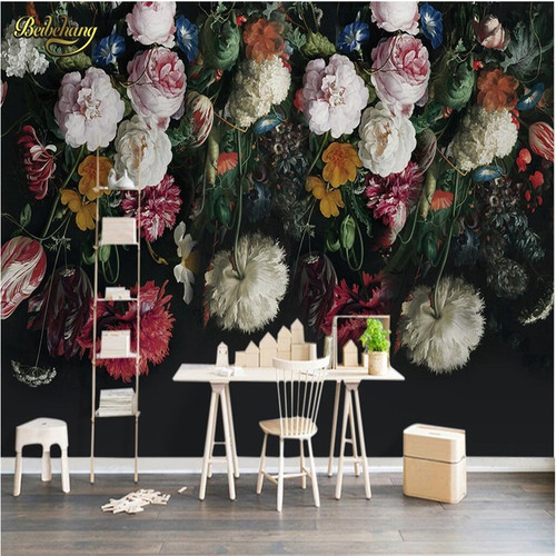 beibehang Retro handsome flower Custom 3D mural Wall paper Mural Photo Wallpaper for Wall Paper for Living Room TV Sofa Backdrop