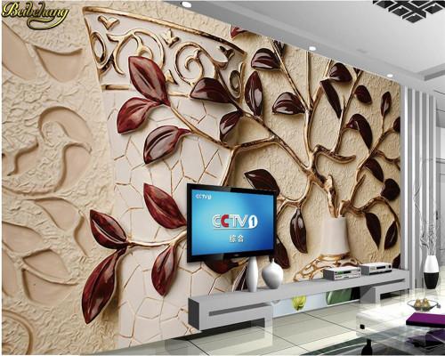 beibehang Custom Photo Wallpaper Mural 3D Leaf Relief Background Wall Leaf Garment 3D Background Wall Mural papel de parede