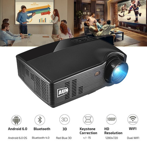 Brand AUN Android Projector PH10X, Bluetooth WIFI. 3500 Lumen LED Projector, (Optional PH10), Full HD Video Beamer
