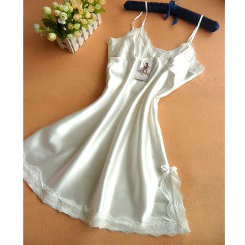 Plus Size Silk Lace Halter Slip Sleeping Dress Satin Nightgowns Women Sleepwear Sleeveless Night dress Sexy Lingerie Night Wear