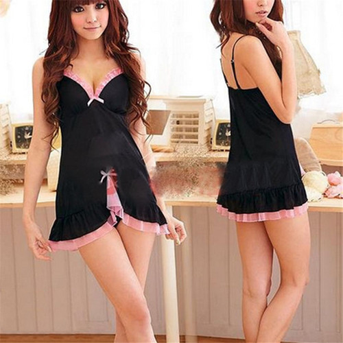 Sexy Silk Satin Night Dress Sleeveless Nighties V-neck Nightgown Free Size Nightdress Lace Sleepwear Nightwear For Women