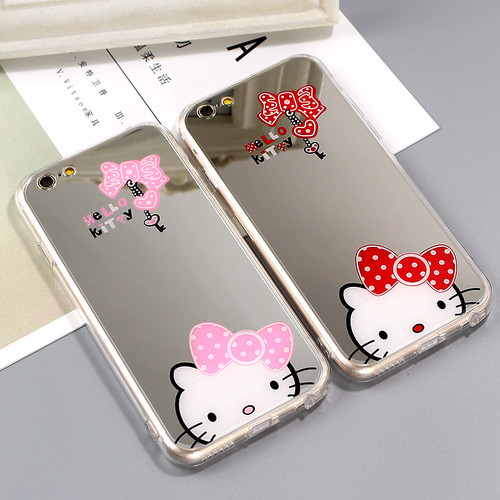 JAMULAR Cartoon Hello Kitty Mirror Cases For iphone X 7 6S Plus Soft Silicon Case For iphone 6 6S 8 Plus Phone Back Cover Fundas