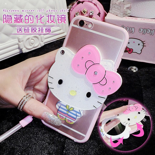 lovely Hello Kitty Mickey Mouse With mirror Silicone soft TPU cover For Samsung Galaxy S8 Plus S7 S7 edge phone case With chain